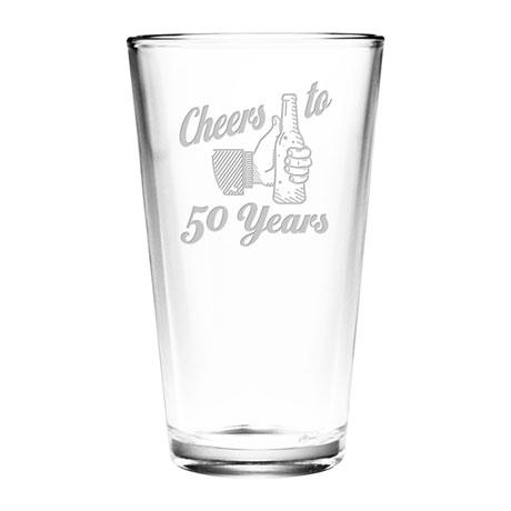 "Personalized ""Cheers"" Birthday Pint Glass"