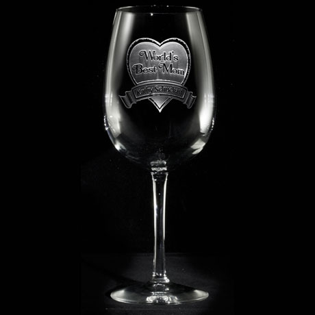 "Personalized ""World's Best Mom"" Wine Glass"