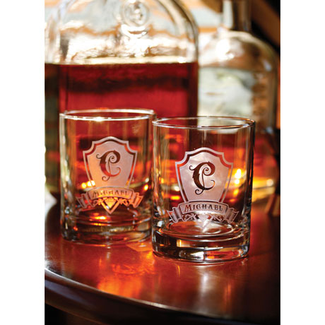 Personalized Shield Initial Whiskey Glasses - Set of 2