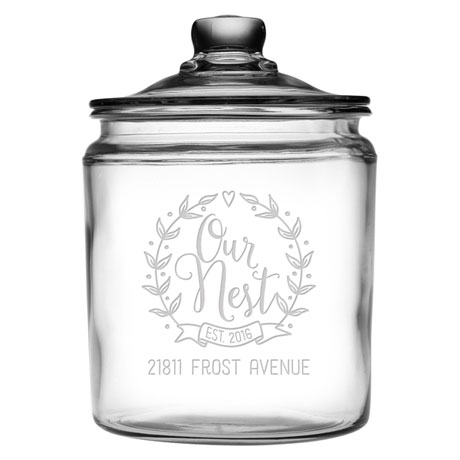 """Personalized """"Our Nest"""" Glass Cookie Jar"""