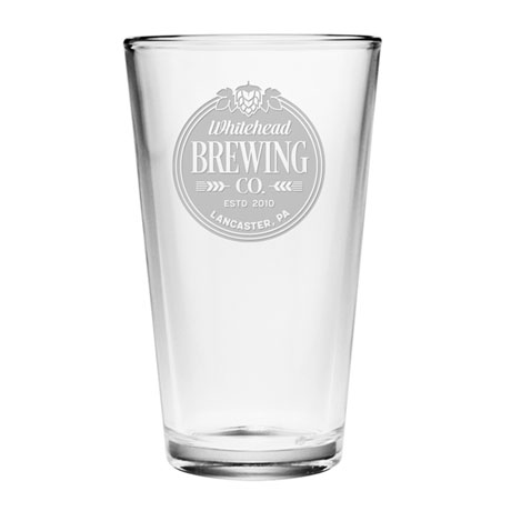 Personalized Wheat & Hops Brewing Set of 4 Pint Glasses