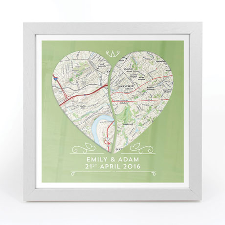 Personalized Joined Hearts Framed Map Print