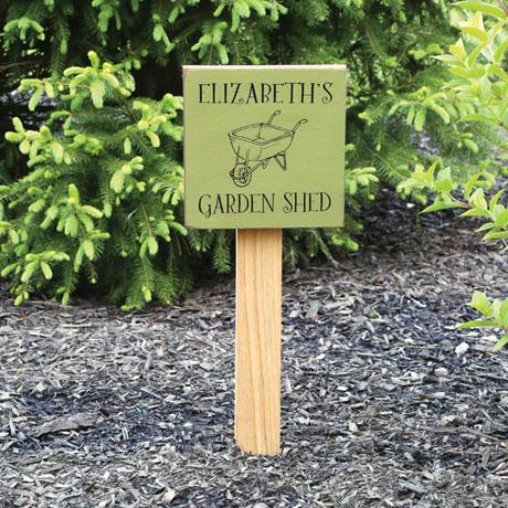 Personalized Garden Wheelbarrow Sign with Stake