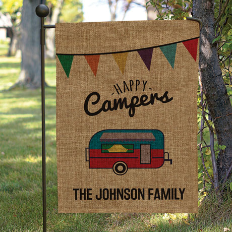 Personalized Happy Campers Burlap Garden Flag with Flag Pole