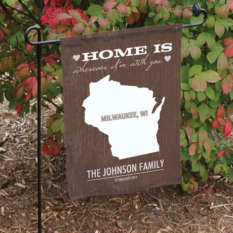 Personalized Home State Garden Flag with Flag Pole