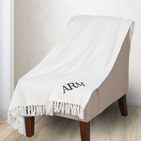 Monogrammed Ivory Throw Blanket