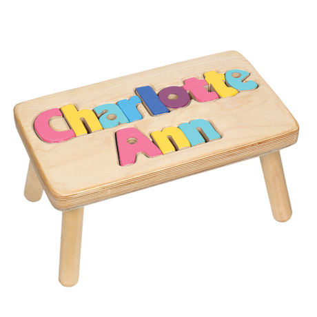 Personalized Children's Wooden Puzzle Step Stool - 2 Names
