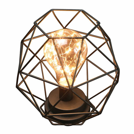 "Table Desk Accent Lamp - Wire Polygon Sculpture LED Light - 12"" H"