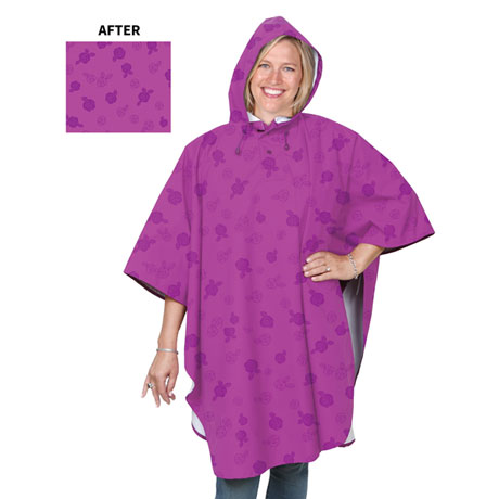 Magic Rose Pattern Water Reveal Rain Poncho - Aster Purple