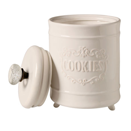"Door Knob Circa Cookie Jar - White Ceramic 8"" High Container - By Mud Pie"
