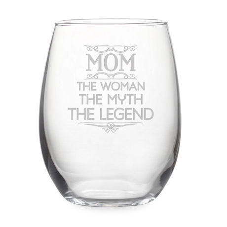 """Mom: The Woman, The Myth, The Legend"" Stemless Wine Glass"