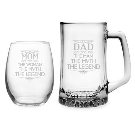 Mom & Dad Stemless Wine Glass and Beer Mug Set - Myth, Legend