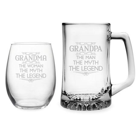 Grandma & Grandpa Stemless Wine Glass and Beer Mug Set - Myth, Legend