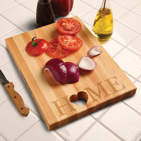 "Words with Boards Maple Hardwood Cutting Board - ""Home"" with Hand-Cut Heart Accent"