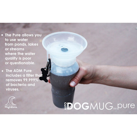 HighWave AutoDogMug Pure Portable Water Bottle with 2 Filters for Dogs - Ceramic Filtration Removes Contaminants