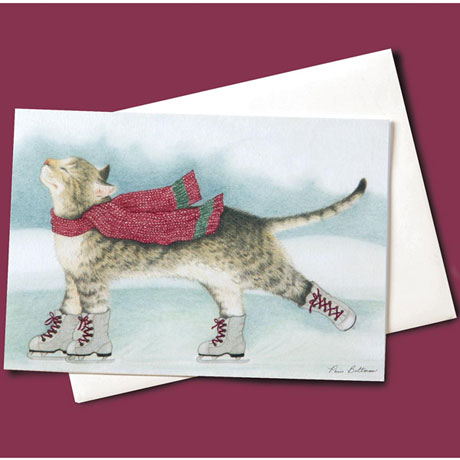 Skating Cat Christmas Greeting Cards