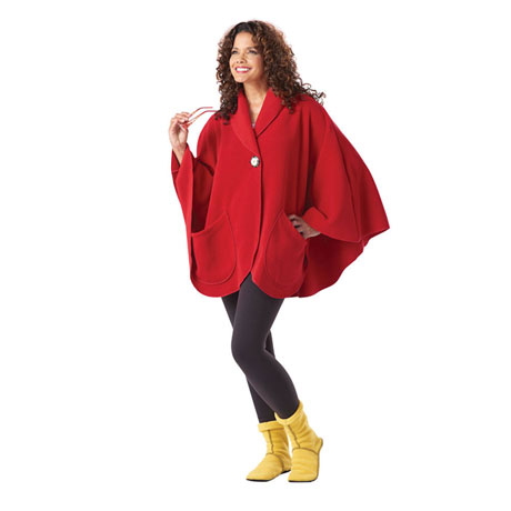 Fleece Pocket Cape - Red