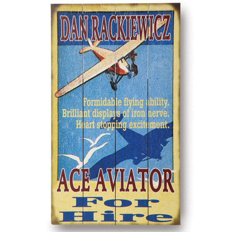 Personalized Ace Aviator Wall Sign in Wood