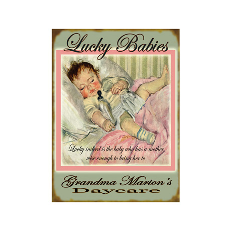 Personalized Lucky Babies Sign - Pink