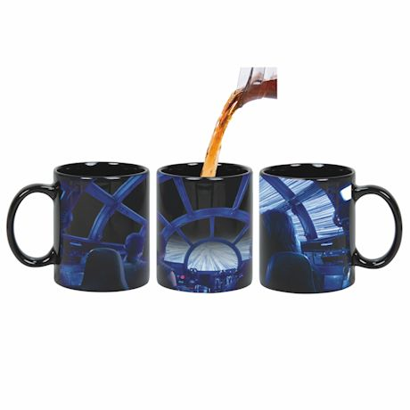 Exclusive Star Wars Rey & Chewie Millenian Falcon Cockpit Hyperspace Heat Changing Coffee Mug