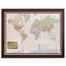 PERSONALIZED WORLD TRAVELER MAP SET - FRAMED