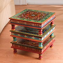 HANDPAINTED INDIAN STACKING TABLES - TURQUOISE