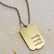 SERENITY PRAYER DOG TAG NECKLACE - BRASS