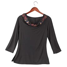 BLUEBIRDS AND BLOSSOMS DRAPE-NECK TOP