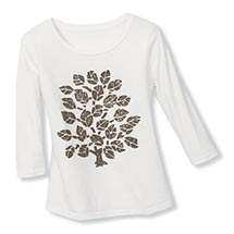GOLD-FLECKED LEAVES TEE