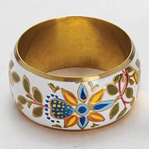 HAND-PAINTED BRASS BANGLE, GARDEN