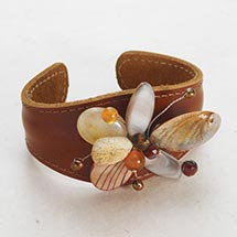 LEATHER CUFF WITH STONE FLOWER