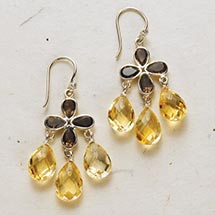 SMOKY TOPAZ AND CITRINE EARRINGS