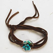 STONES AND LEATHER WRAP BRACELET