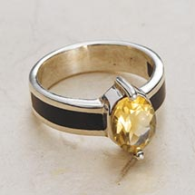 WOOD AND STERLING CITRINE RING