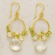 PERIDOT AND QUARTZ CLUSTER EARRINGS