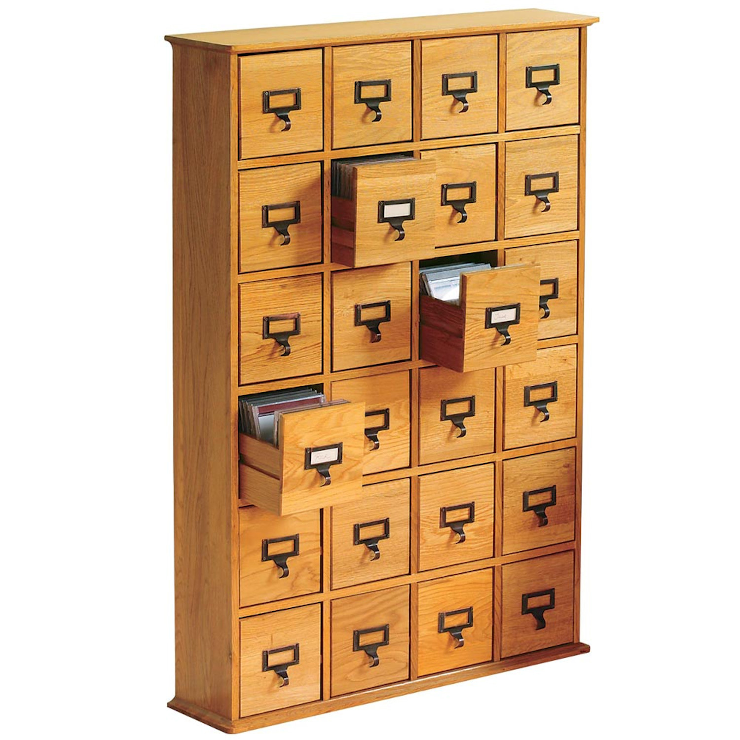 Library cd wood storage cabinet drawer media