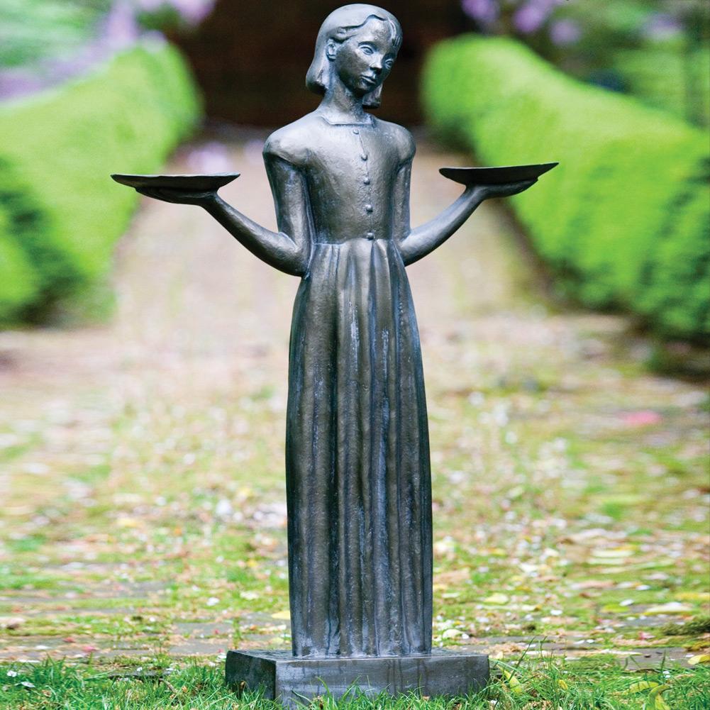 Resin Bird Girl Garden Statue Sculpture Feeder (Large   37) Sylvia Shaw  Judson