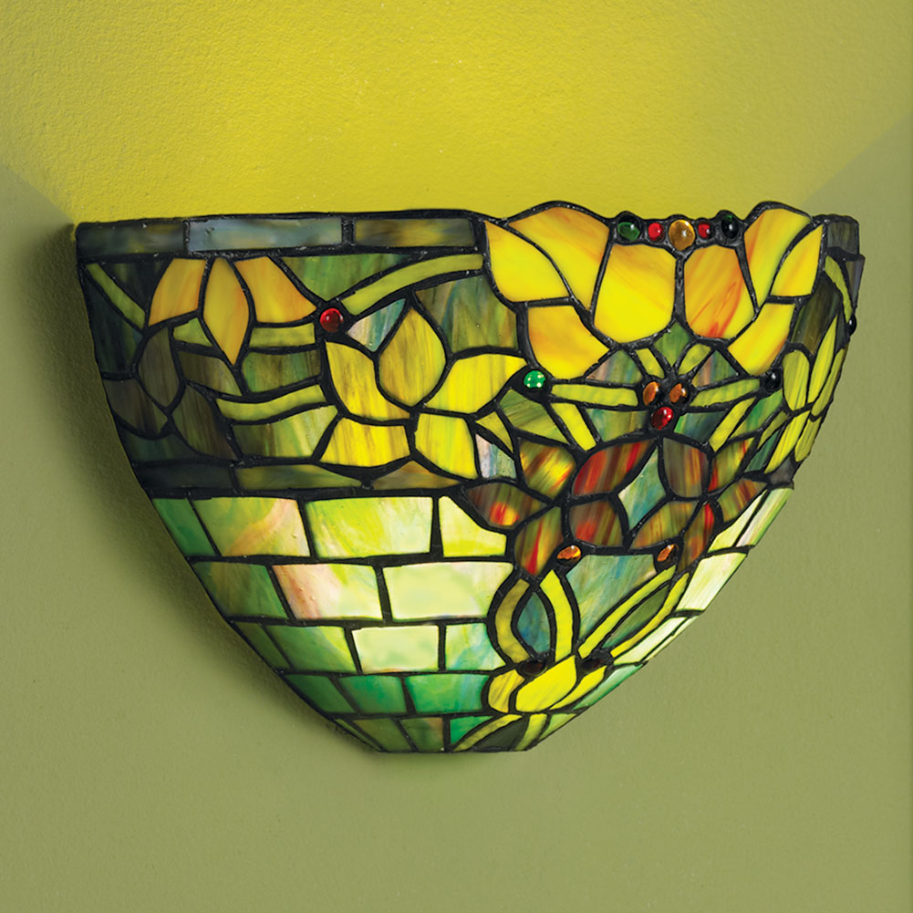 Tiffany Battery Wall Sconces : Tiffany Style Battery Operated Art Glass Wall Sconce Lighting - Jewel Tones eBay