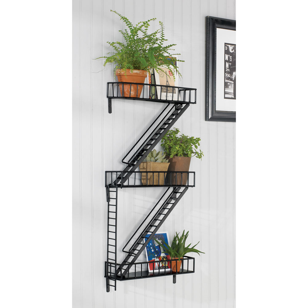 fire escape steel modern wall art decorative ledge shelf