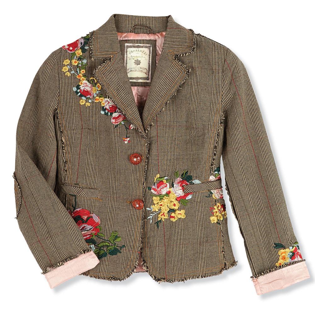 Womenu0026#39;s Shabby Chic Artisan Plaid Embroidered Cropped Blazer Jacket | EBay
