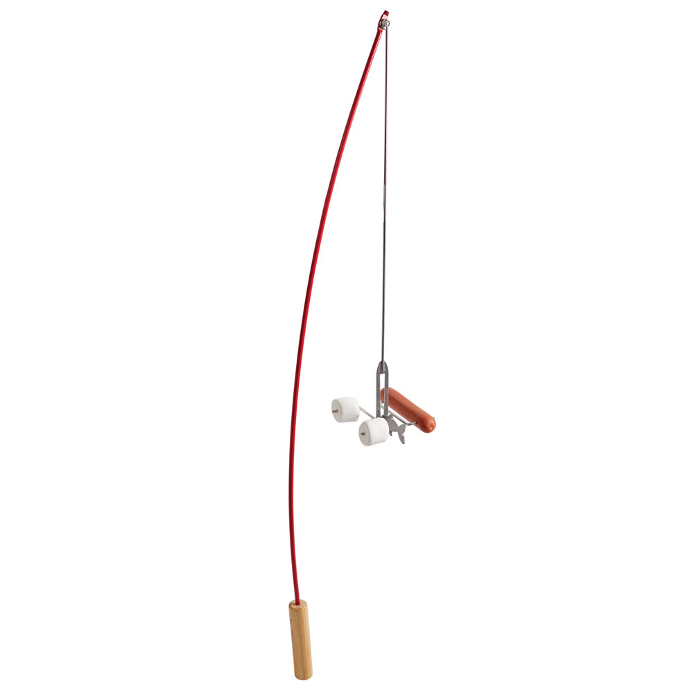 hot dog and marshmallow roasting campfire fishing pole