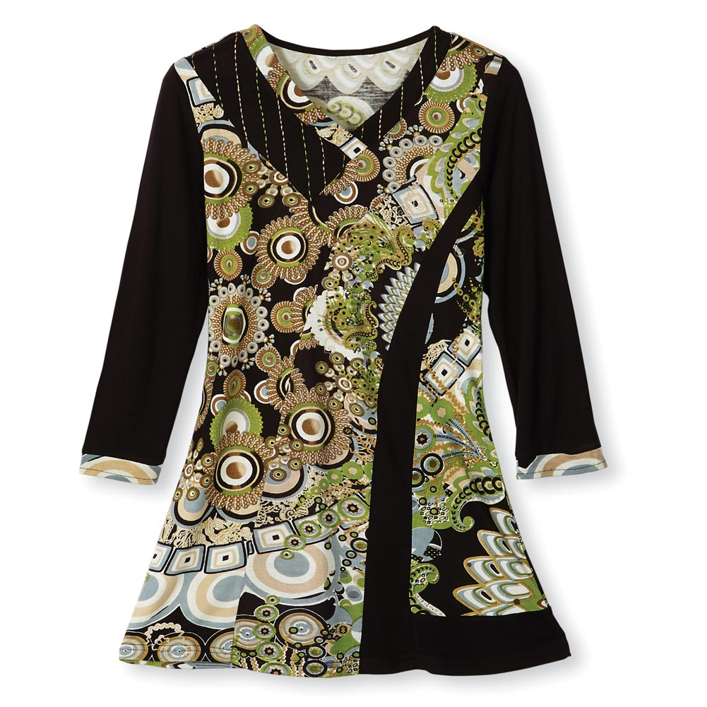 SIGNALS Women's Green And Black Garden Floral 3/4 Sleeve V-Neck Tunic Top