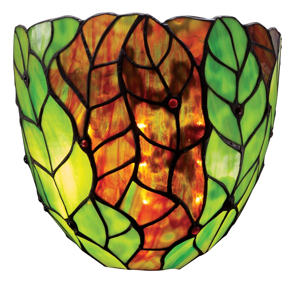 Tiffany Battery Wall Sconces : Art Glass Wall Sconce Tiffany Style Battery-Operated Cordless - Green Leaves eBay
