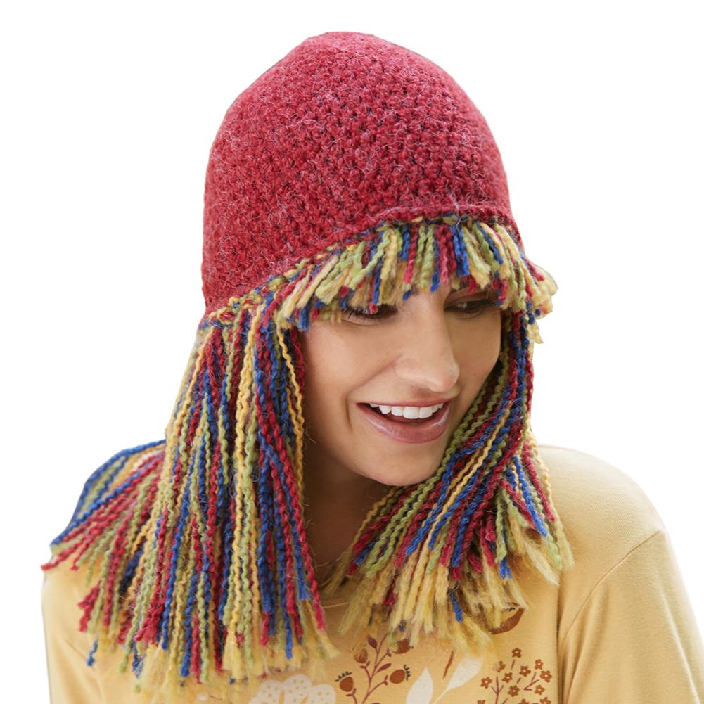 Big Fringe Knit Winter Hat - Red | eBay