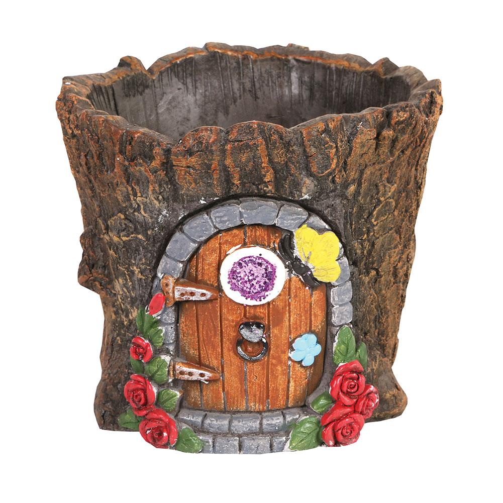 Gnome Tree Stump Home: Fairy Door In Tree Stump Trunk Cement Flower Pot / Garden