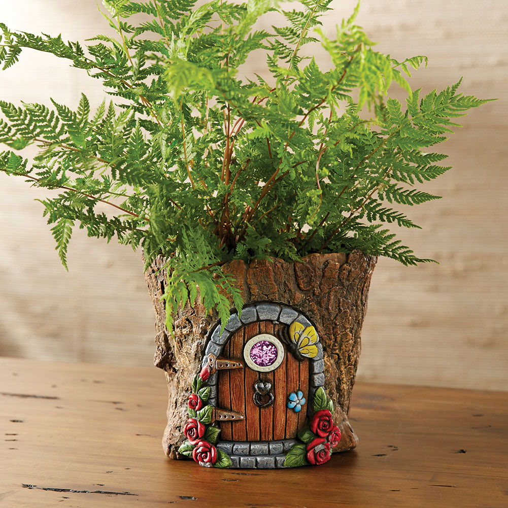 Fairy Door In Tree Stump Trunk Cement Flower Pot Garden