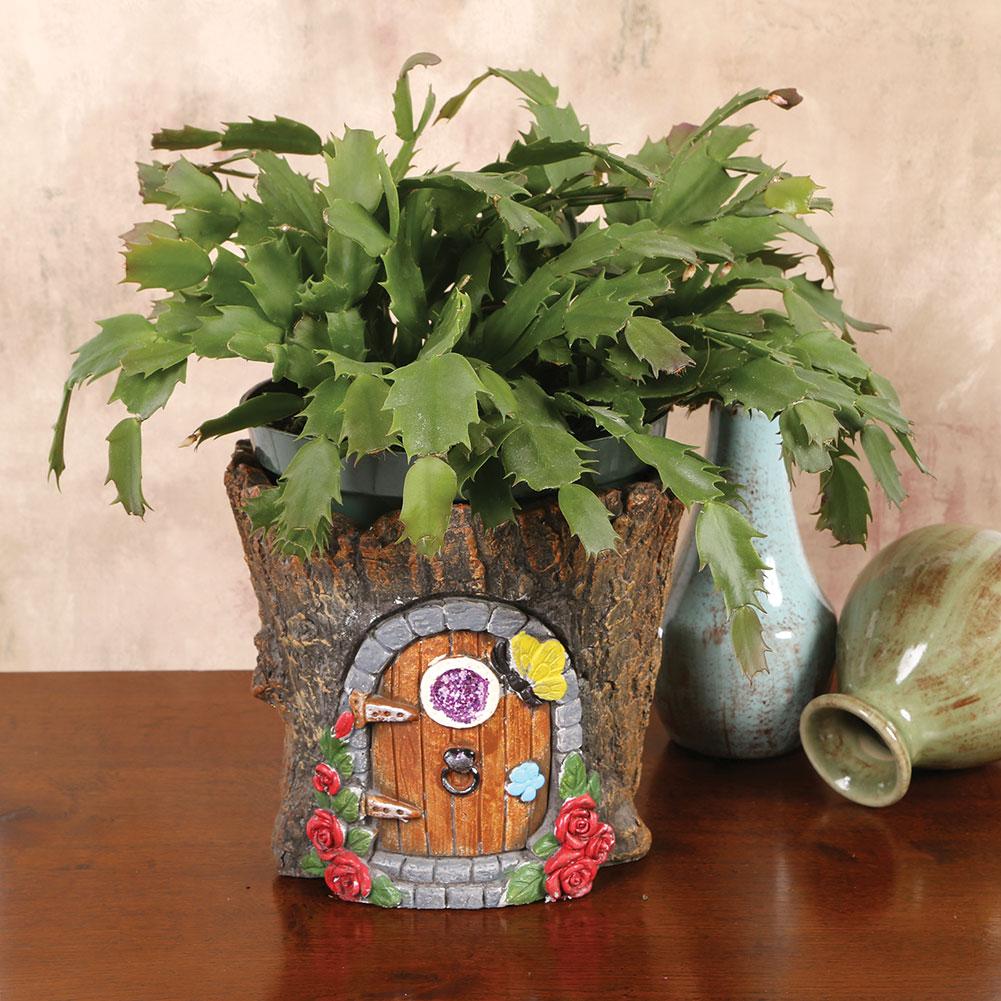 Fairy Door In Tree Stump Trunk Cement Flower Pot Garden