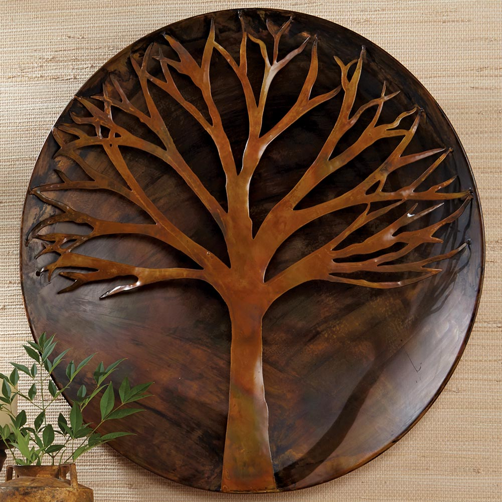 Flamed copper metal tree wall art ebay for Copper wall art