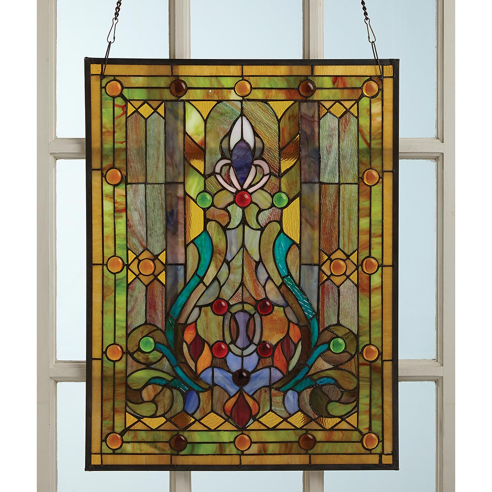 Tiffany style victorian stained glass window panel hanging for Window panel design