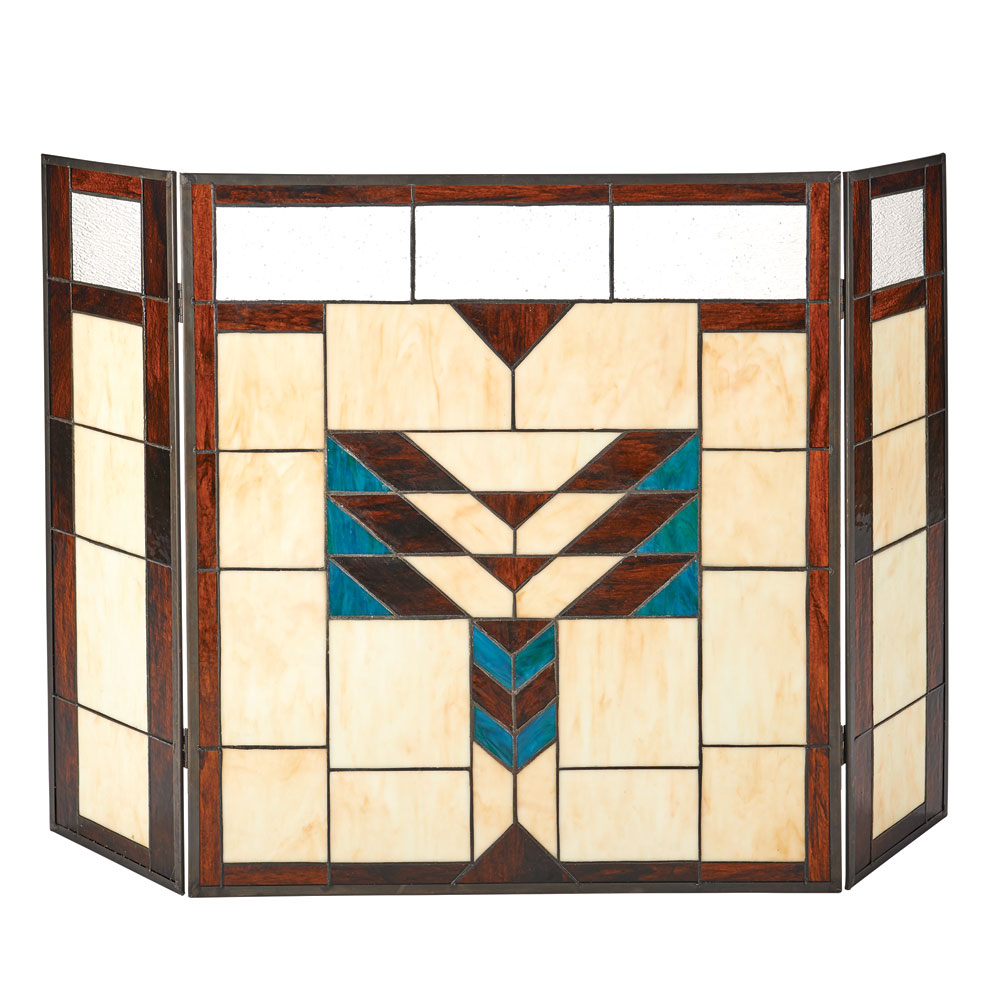 Arts And Crafts Movement Stained Glass Fireplace Screen Brown Blue Ivory Ebay